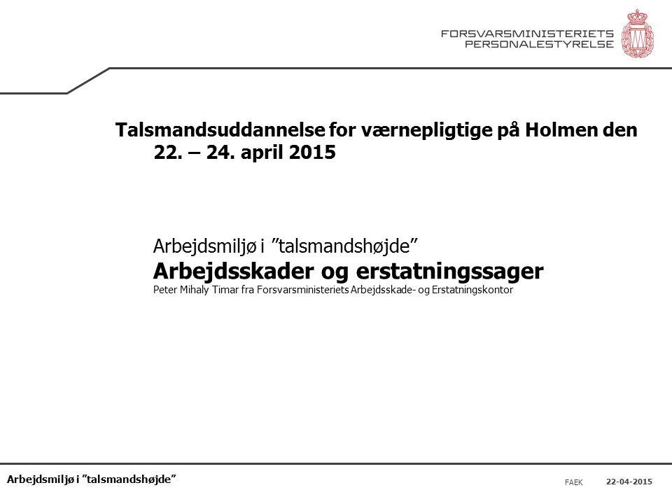 Arbejdsmiljø i talsmandshøjde 22-04-2015 FAEK Talsmandsuddannelse for værnepligtige på Holmen den 22.