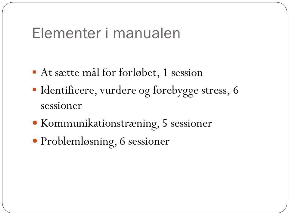 Elementer i manualen  At sætte mål for forløbet, 1 session  Identificere, vurdere og forebygge stress, 6 sessioner Kommunikationstræning, 5 sessioner Problemløsning, 6 sessioner
