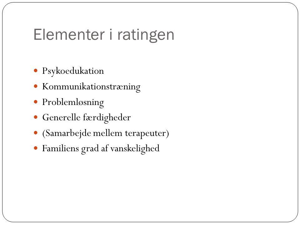 Elementer i ratingen Psykoedukation Kommunikationstræning Problemløsning Generelle færdigheder (Samarbejde mellem terapeuter) Familiens grad af vanskelighed