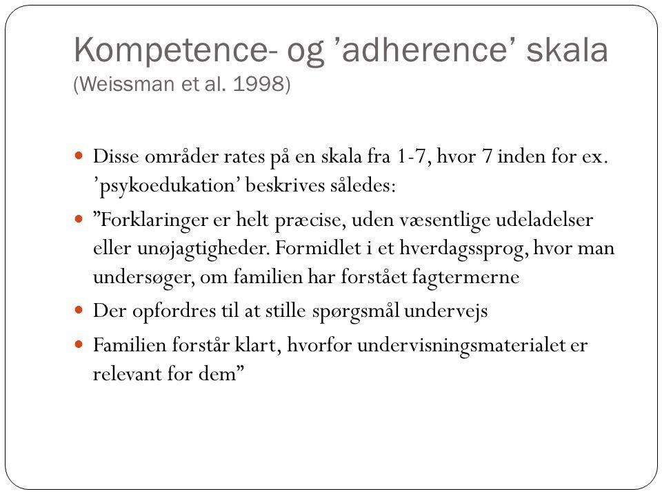 Kompetence- og 'adherence' skala (Weissman et al.