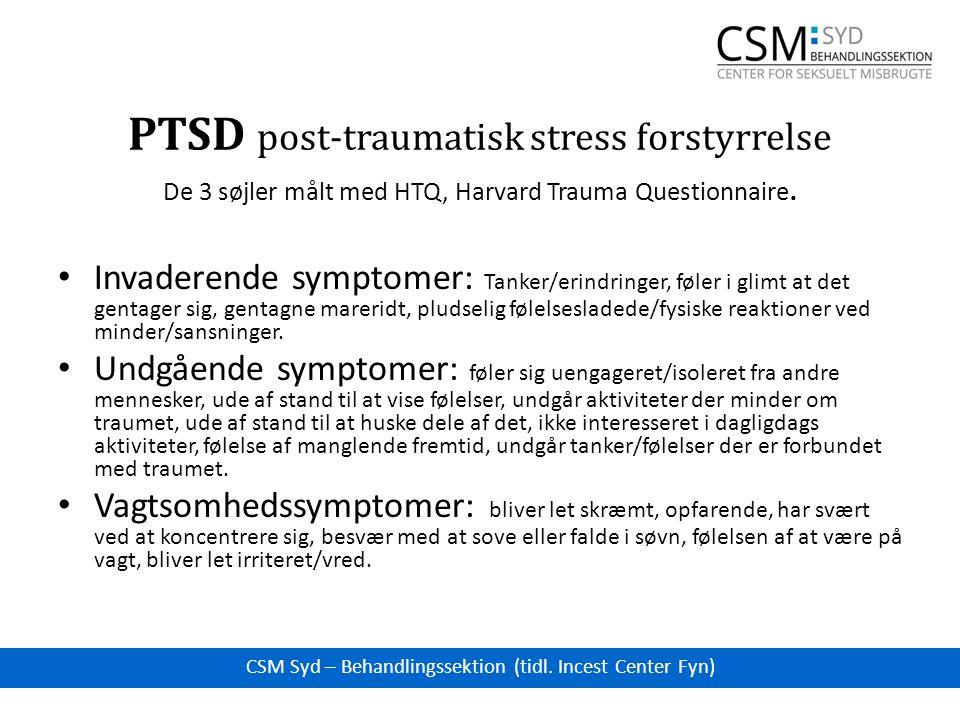 PTSD post-traumatisk stress forstyrrelse De 3 søjler målt med HTQ, Harvard Trauma Questionnaire.