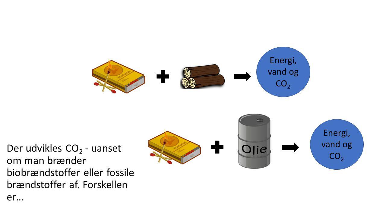CO 2 Fossile brændstoffer er ikke CO 2 -neutrale Når man brænder fossile brændstoffer af, stiger koncentrationen af CO 2 i luften