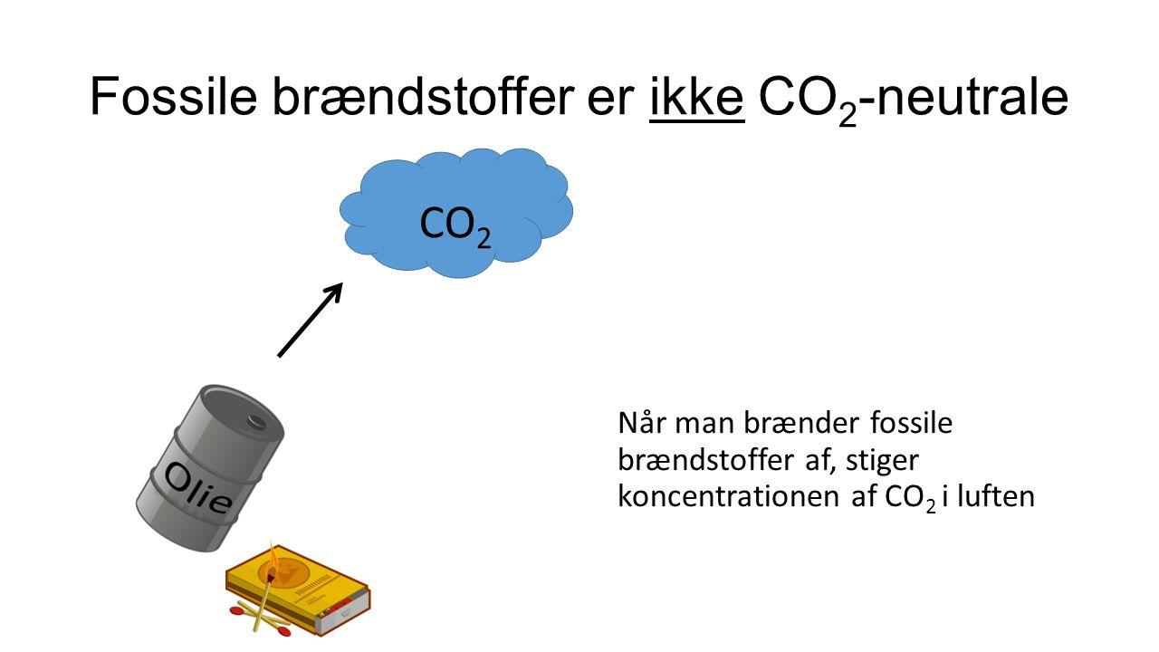 CO 2 Biobrændstoffer er CO 2 -neutrale Når træ – eller et andet biobrændstof – brændes af, udvikles kun den mængde CO 2, som træerne (planterne) har bundet ved fotosyntesen, mens det voksede.