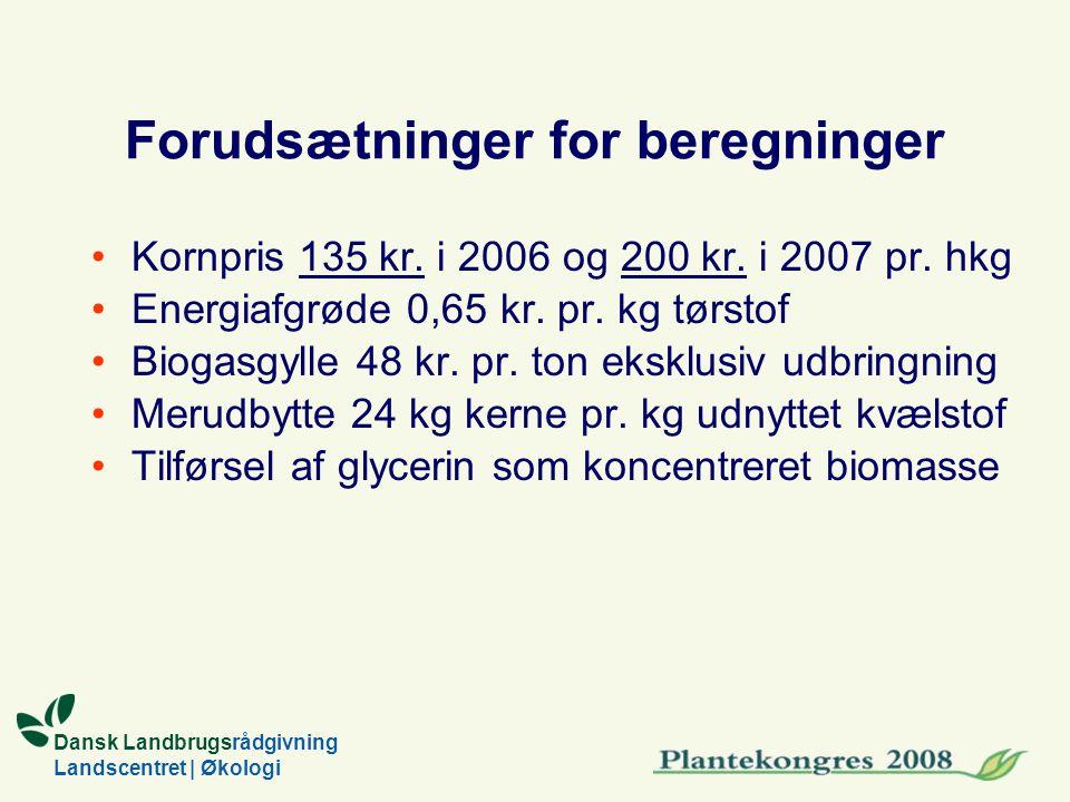 Dansk Landbrugsrådgivning Landscentret | Økologi Forudsætninger for beregninger Kornpris 135 kr.