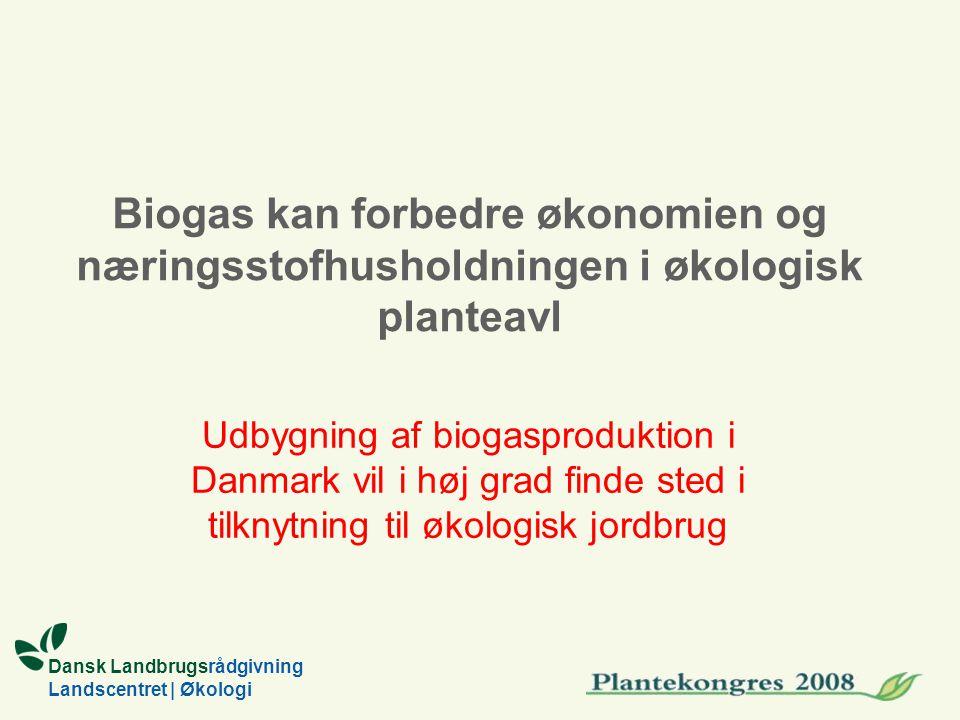 Dansk Landbrugsrådgivning Landscentret | Økologi Biogas kan forbedre økonomien og næringsstofhusholdningen i økologisk planteavl Udbygning af biogasproduktion i Danmark vil i høj grad finde sted i tilknytning til økologisk jordbrug