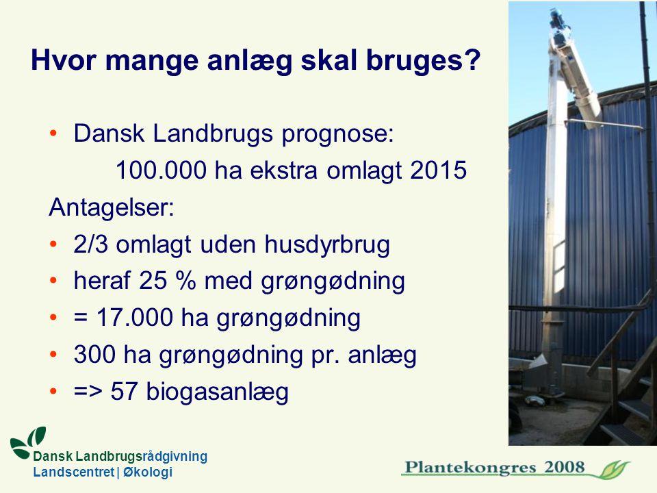 Dansk Landbrugsrådgivning Landscentret | Økologi Hvor mange anlæg skal bruges.