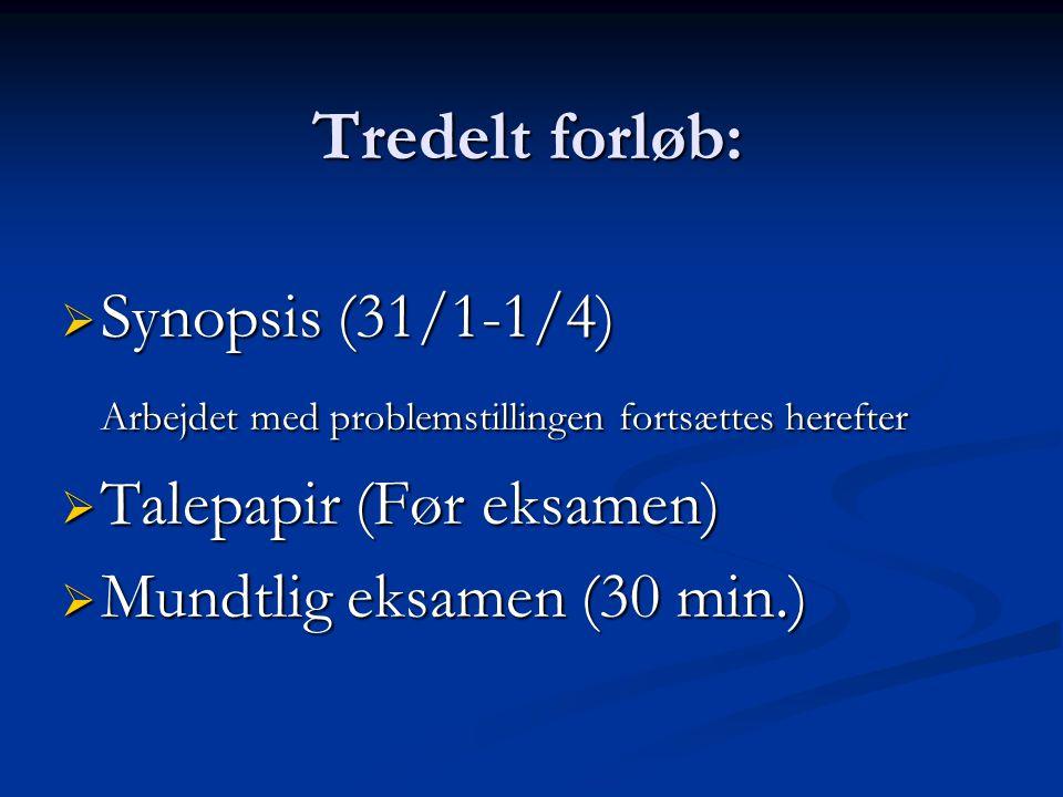 Tredelt forløb:  Synopsis (31/1-1/4) Arbejdet med problemstillingen fortsættes herefter  Talepapir (Før eksamen)  Mundtlig eksamen (30 min.)