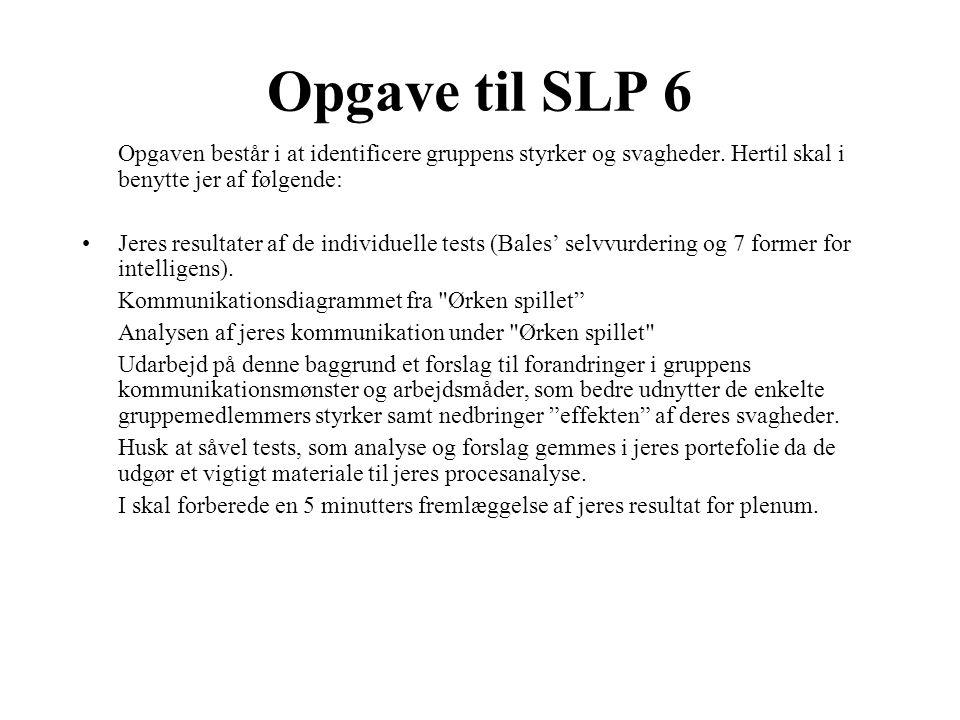Opgave til SLP 6 Opgaven består i at identificere gruppens styrker og svagheder.