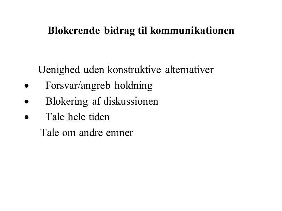 Blokerende bidrag til kommunikationen Uenighed uden konstruktive alternativer  Forsvar/angreb holdning  Blokering af diskussionen  Tale hele tiden Tale om andre emner