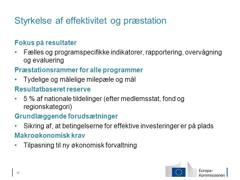 11 Styrkelse af effektivitet og præstation Fokus på resultater Fælles og programspecifikke indikatorer, rapportering, overvågning og evaluering Præstationsrammer for alle programmer Tydelige og målelige milepæle og mål Resultatbaseret reserve 5 % af nationale tildelinger (efter medlemsstat, fond og regionskategori) Grundlæggende forudsætninger Sikring af, at betingelserne for effektive investeringer er på plads Makroøkonomisk krav Tilpasning til ny økonomisk forvaltning