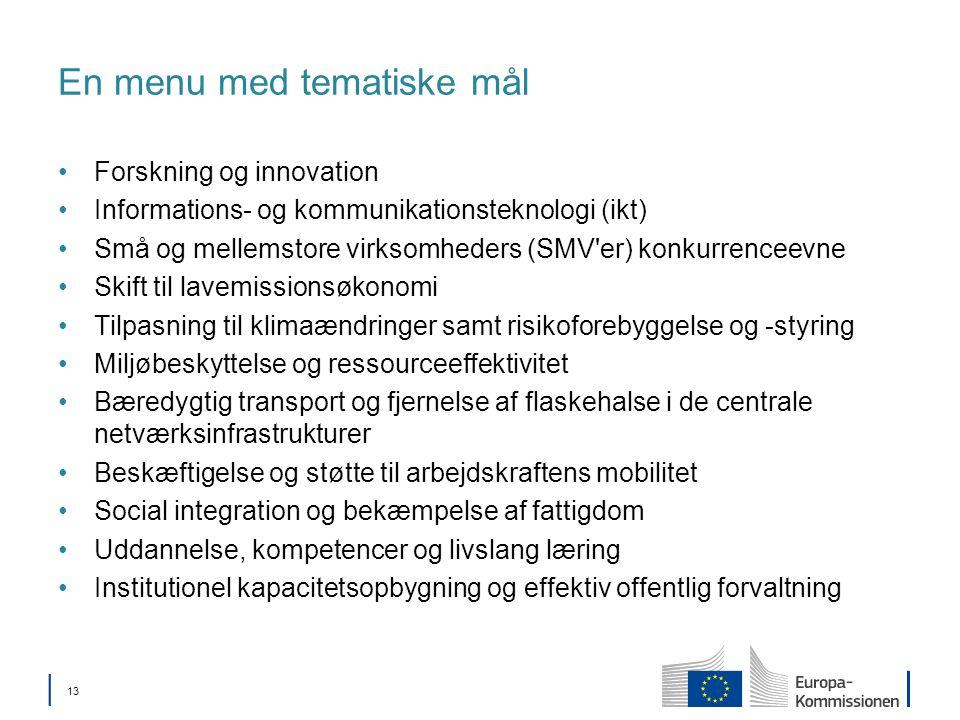 13 En menu med tematiske mål Forskning og innovation Informations- og kommunikationsteknologi (ikt) Små og mellemstore virksomheders (SMV er) konkurrenceevne Skift til lavemissionsøkonomi Tilpasning til klimaændringer samt risikoforebyggelse og -styring Miljøbeskyttelse og ressourceeffektivitet Bæredygtig transport og fjernelse af flaskehalse i de centrale netværksinfrastrukturer Beskæftigelse og støtte til arbejdskraftens mobilitet Social integration og bekæmpelse af fattigdom Uddannelse, kompetencer og livslang læring Institutionel kapacitetsopbygning og effektiv offentlig forvaltning