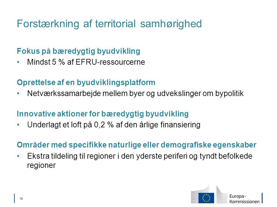 19 Forstærkning af territorial samhørighed Fokus på bæredygtig byudvikling Mindst 5 % af EFRU-ressourcerne Oprettelse af en byudviklingsplatform Netværkssamarbejde mellem byer og udvekslinger om bypolitik Innovative aktioner for bæredygtig byudvikling Underlagt et loft på 0,2 % af den årlige finansiering Områder med specifikke naturlige eller demografiske egenskaber Ekstra tildeling til regioner i den yderste periferi og tyndt befolkede regioner