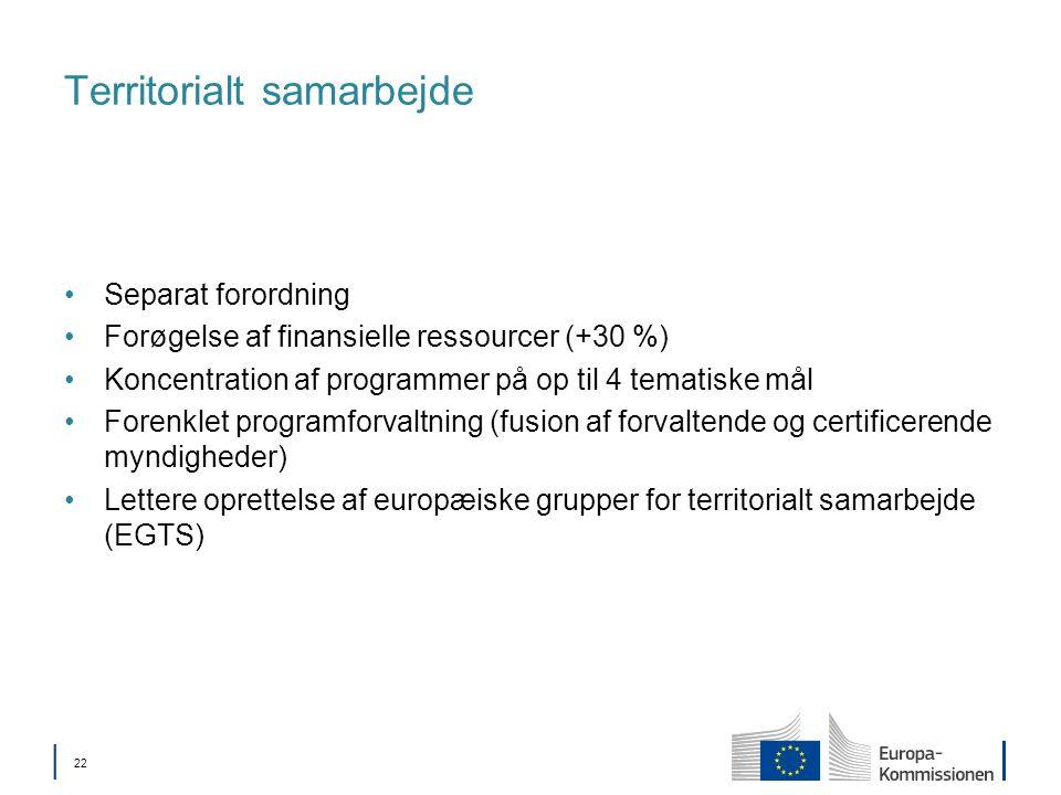 22 Territorialt samarbejde Separat forordning Forøgelse af finansielle ressourcer (+30 %) Koncentration af programmer på op til 4 tematiske mål Forenklet programforvaltning (fusion af forvaltende og certificerende myndigheder) Lettere oprettelse af europæiske grupper for territorialt samarbejde (EGTS)