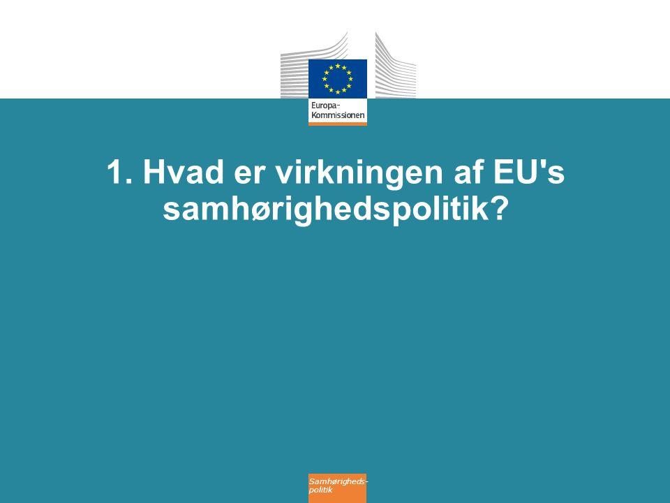 Samhørigheds- politik 1. Hvad er virkningen af EU s samhørighedspolitik