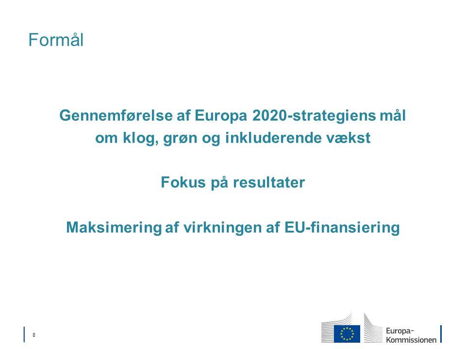 8 Formål Gennemførelse af Europa 2020-strategiens mål om klog, grøn og inkluderende vækst Fokus på resultater Maksimering af virkningen af EU-finansiering