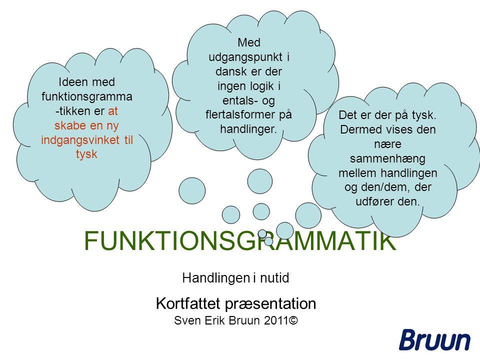 FUNKTIONSGRAMMATIK Ideen med funktionsgramma -tikken er at skabe en ny indgangsvinket til tysk Med udgangspunkt i dansk er der ingen logik i entals- o