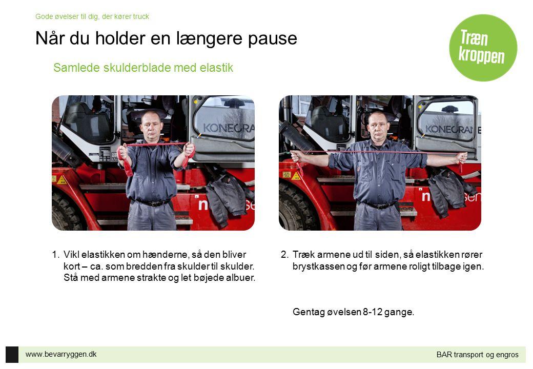 www.bevarryggen.dk Gode øvelser til dig, der kører truck BAR transport og engros Samlede skulderblade med elastik 1.Vikl elastikken om hænderne, så de