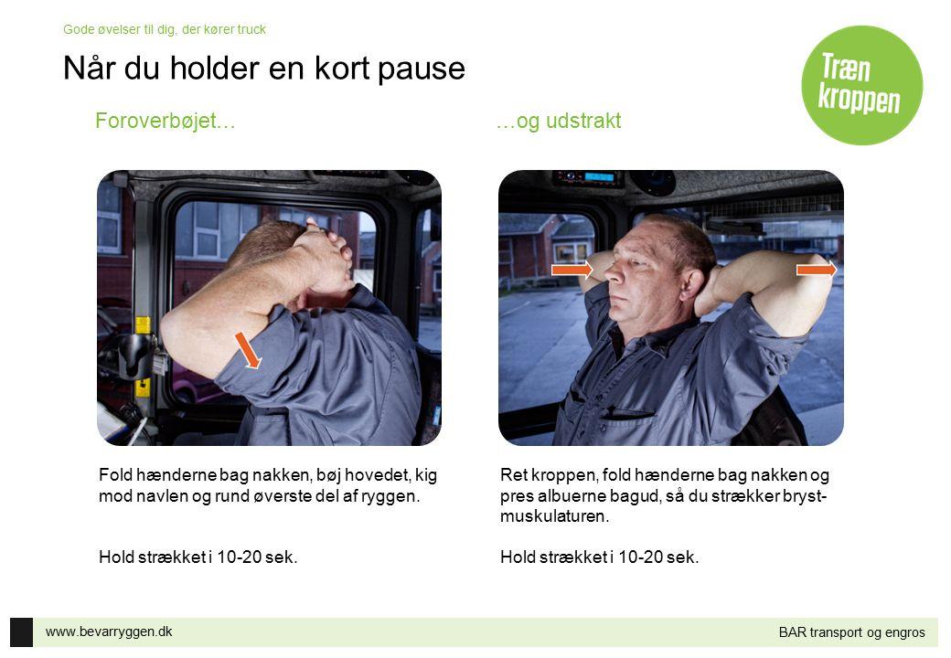 www.bevarryggen.dk Gode øvelser til dig, der kører truck BAR transport og engros Når du holder en kort pause Hold afstand mellem fødderne og læg vægten på det ene ben, mens du strækker den modsatte arm i vejret.
