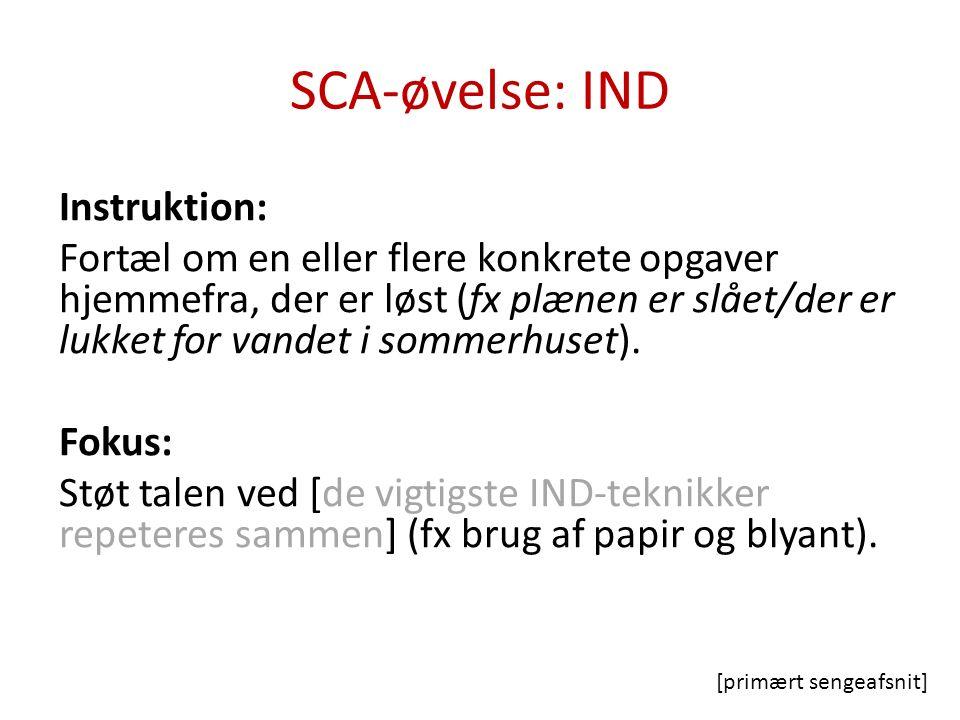 SCA-øvelse: IND Instruktion: Fortæl om en eller flere konkrete opgaver hjemmefra, der er løst (fx plænen er slået/der er lukket for vandet i sommerhuset).