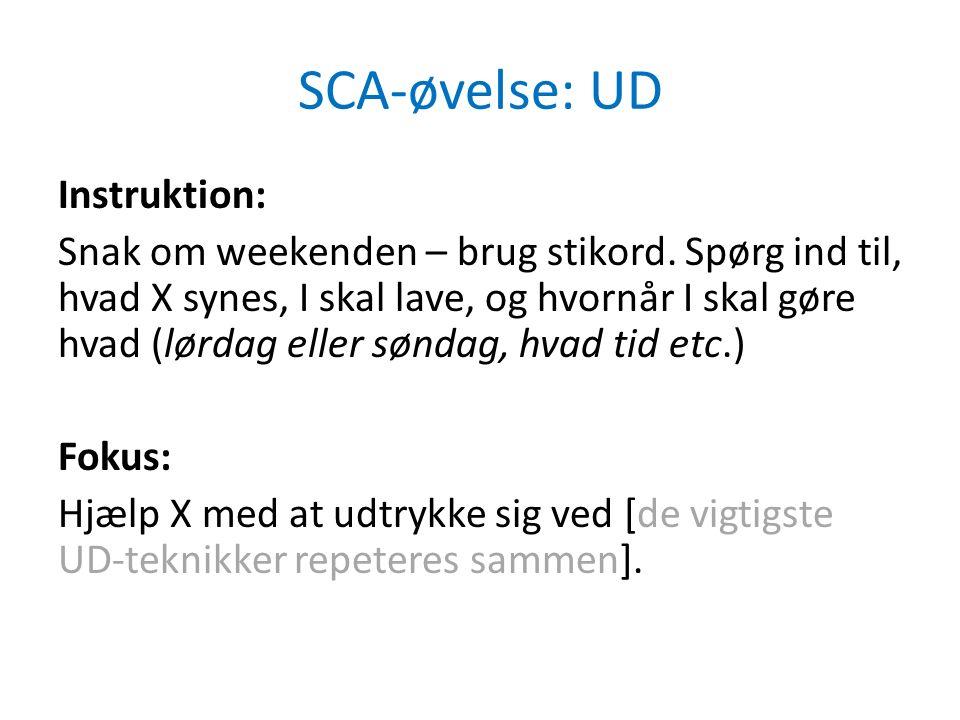 SCA-øvelse: UD Instruktion: Snak om weekenden – brug stikord.