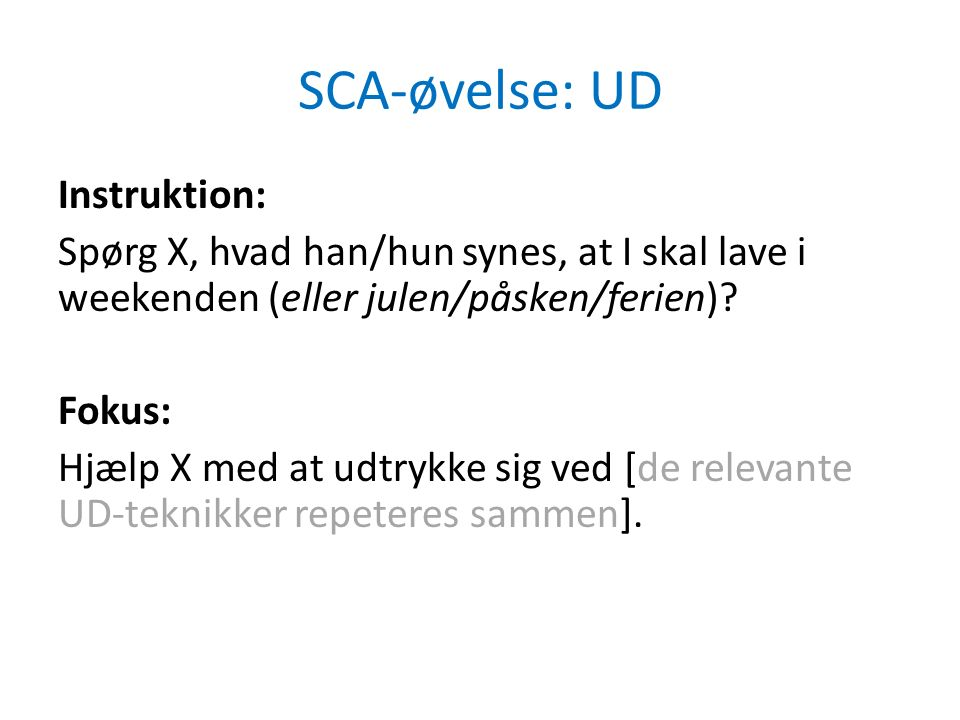 SCA-øvelse: UD Instruktion: Spørg X, hvad han/hun synes, at I skal lave i weekenden (eller julen/påsken/ferien).