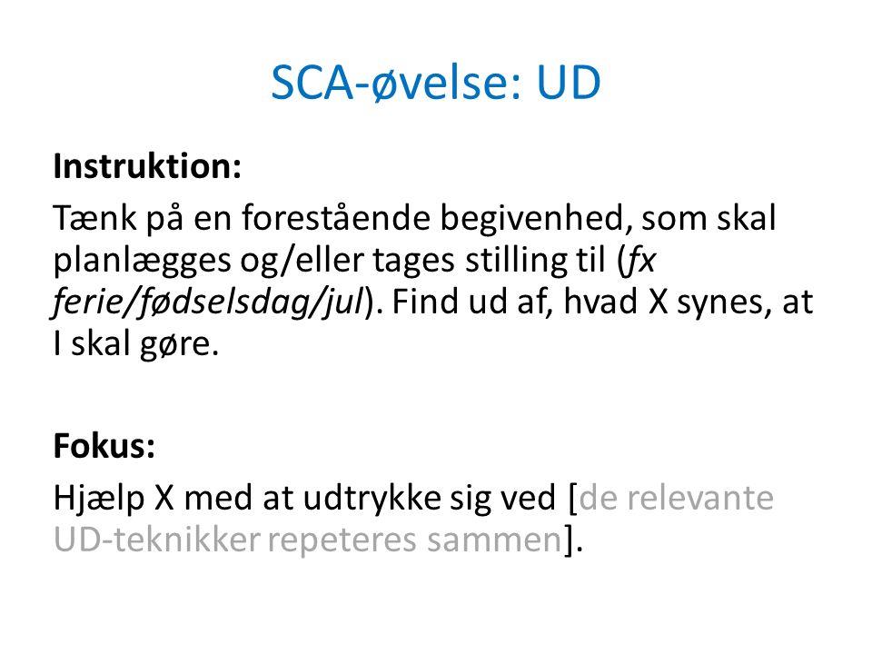 SCA-øvelse: UD Instruktion: Tænk på en forestående begivenhed, som skal planlægges og/eller tages stilling til (fx ferie/fødselsdag/jul).
