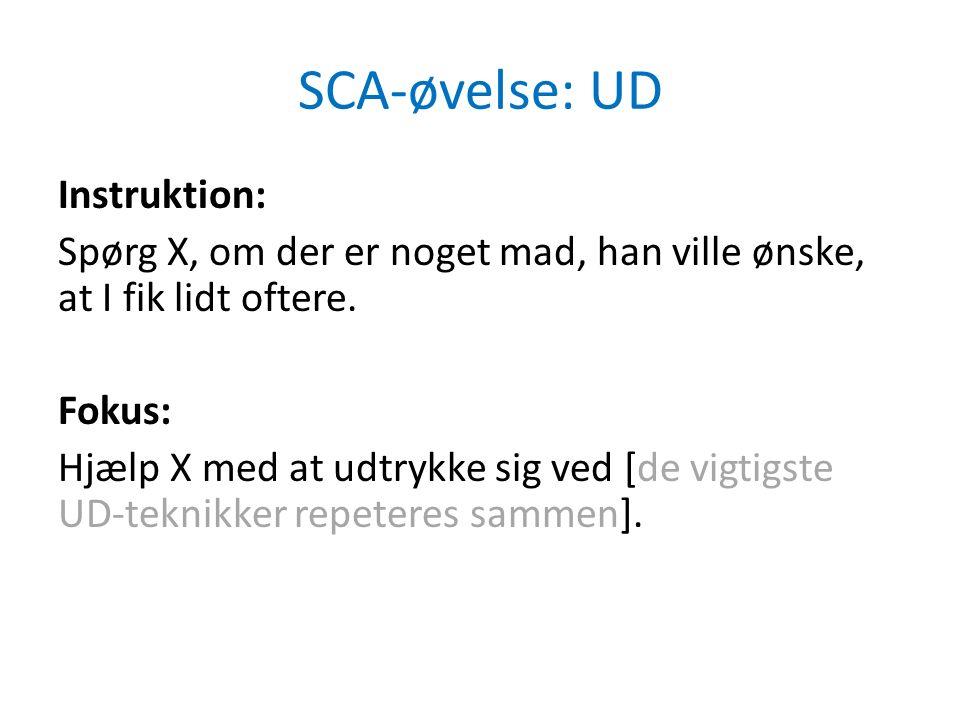 SCA-øvelse: UD Instruktion: Spørg X, om der er noget mad, han ville ønske, at I fik lidt oftere.