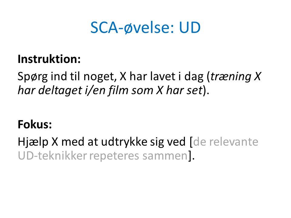 SCA-øvelse: UD Instruktion: Spørg ind til noget, X har lavet i dag (træning X har deltaget i/en film som X har set).