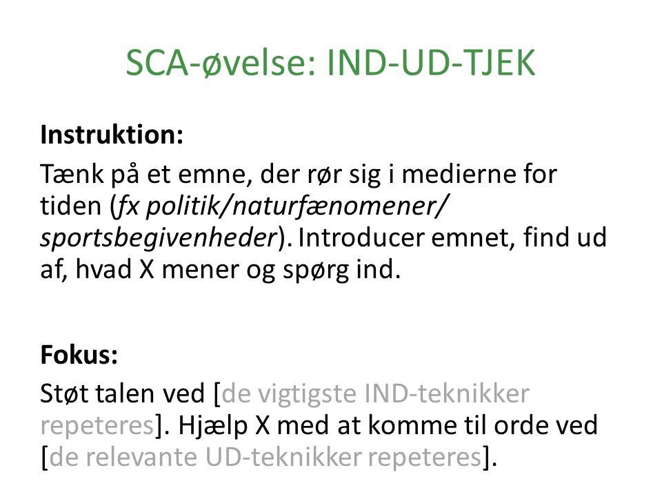 SCA-øvelse: IND-UD-TJEK Instruktion: Tænk på et emne, der rør sig i medierne for tiden (fx politik/naturfænomener/ sportsbegivenheder).