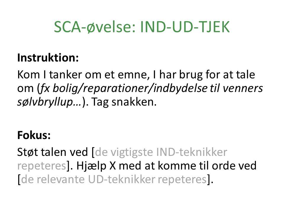 SCA-øvelse: IND-UD-TJEK Instruktion: Kom I tanker om et emne, I har brug for at tale om (fx bolig/reparationer/indbydelse til venners sølvbryllup…).