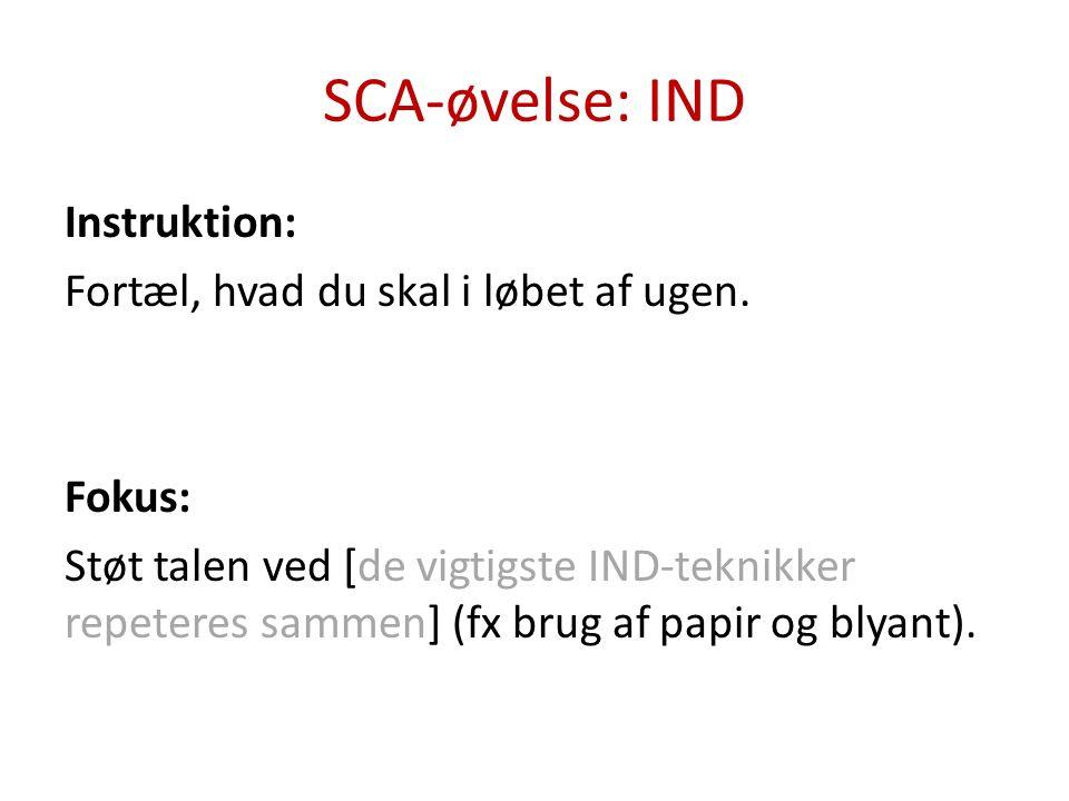 SCA-øvelse: UD Instruktion: Spørg X, om der er noget, du skal tage med, næste gang du kommer.