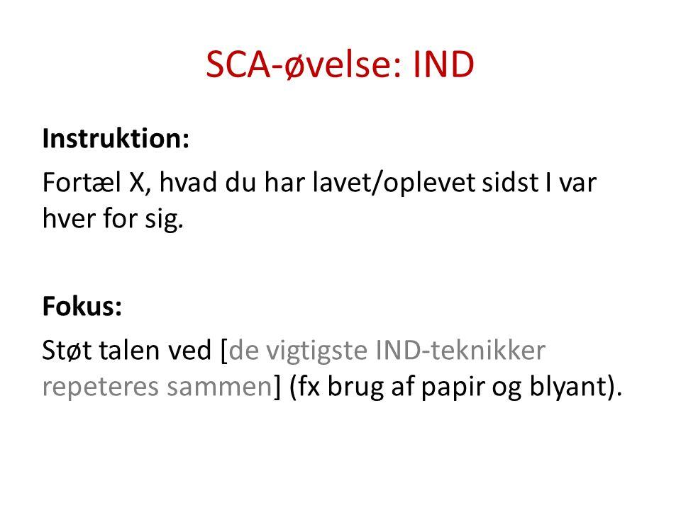SCA-øvelse: IND Instruktion: Fortæl X, hvad du har lavet/oplevet sidst I var hver for sig.