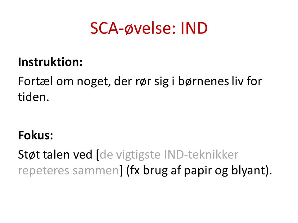 SCA-øvelse: IND Instruktion: Fortæl om noget, du har oplevet på jobbet.