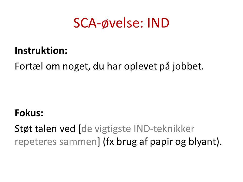 SCA-øvelse: IND-UD-TJEK Instruktion: Spørg X hvilken ferie, I har været på sammen, han/hun husker som den bedste.