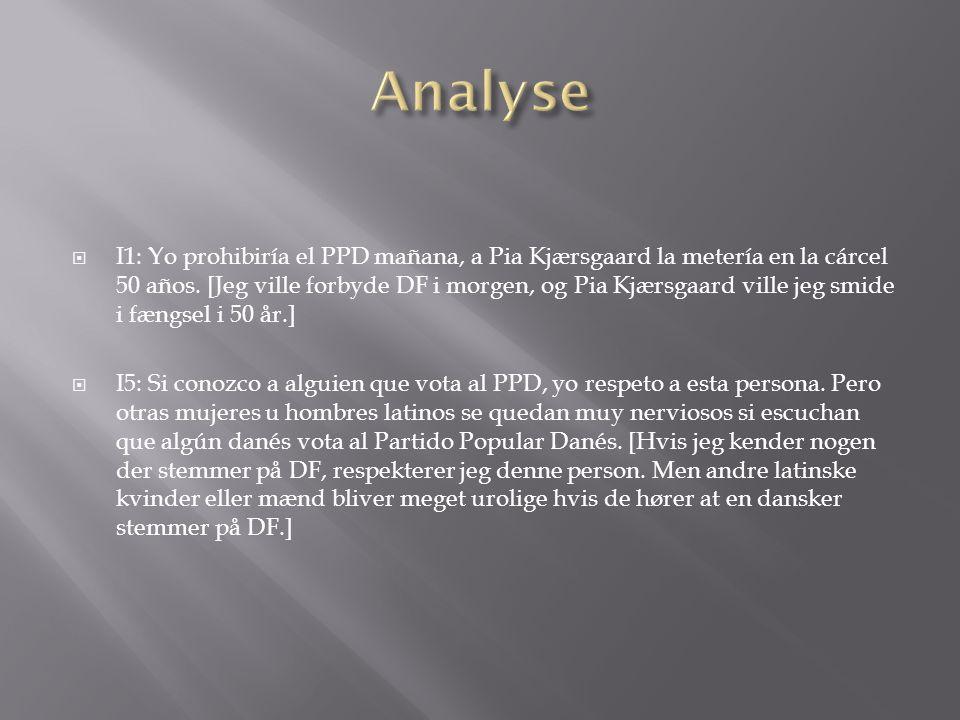 I1: Yo prohibiría el PPD mañana, a Pia Kjærsgaard la metería en la cárcel 50 años.