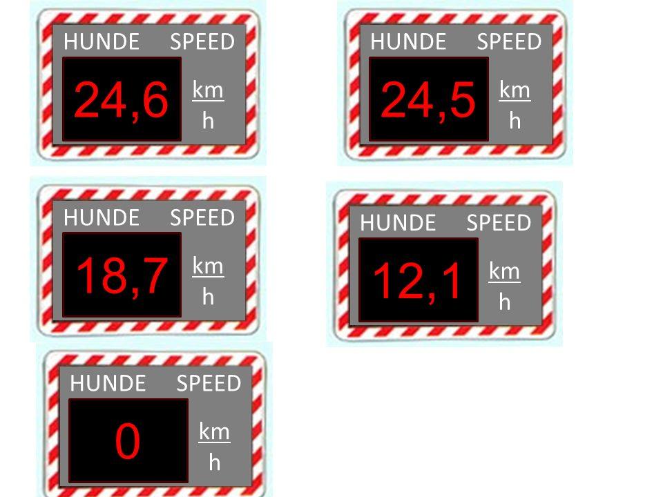 HUNDE SPEED km h 24,6 HUNDE SPEED km h 24,5 HUNDE SPEED km h 18,7 HUNDE SPEED km h 0 HUNDE SPEED km h 12,1
