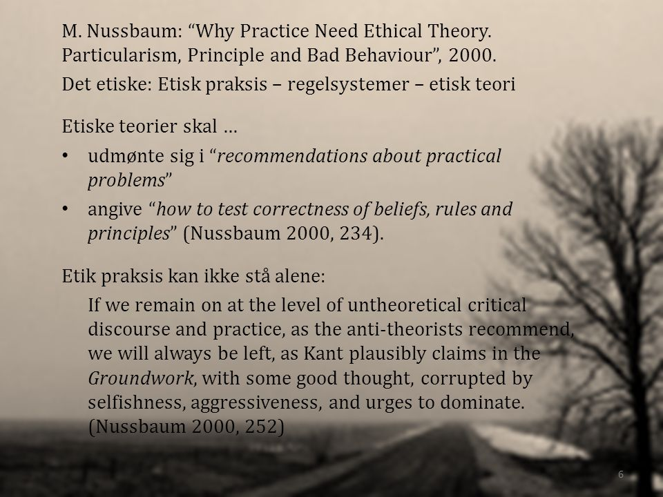 M.Nussbaum: Why Practice Need Ethical Theory. Particularism, Principle and Bad Behaviour, 2000.