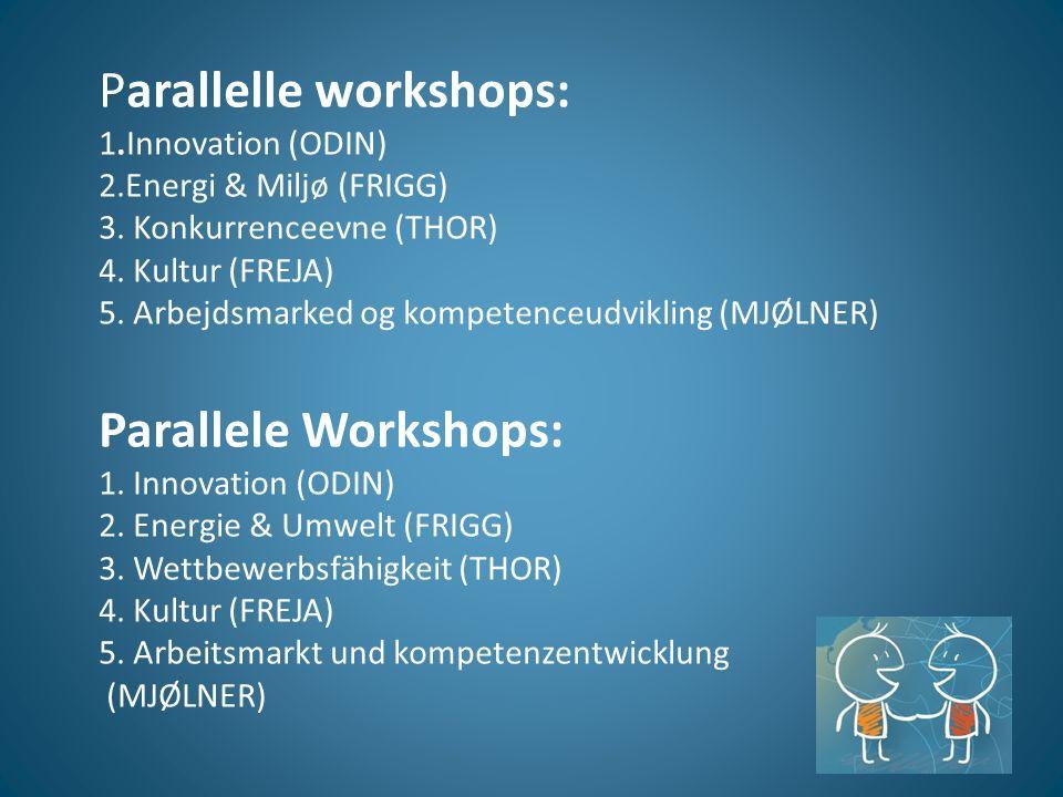 Parallelle workshops: 1.Innovation (ODIN) 2.Energi & Miljø (FRIGG) 3.