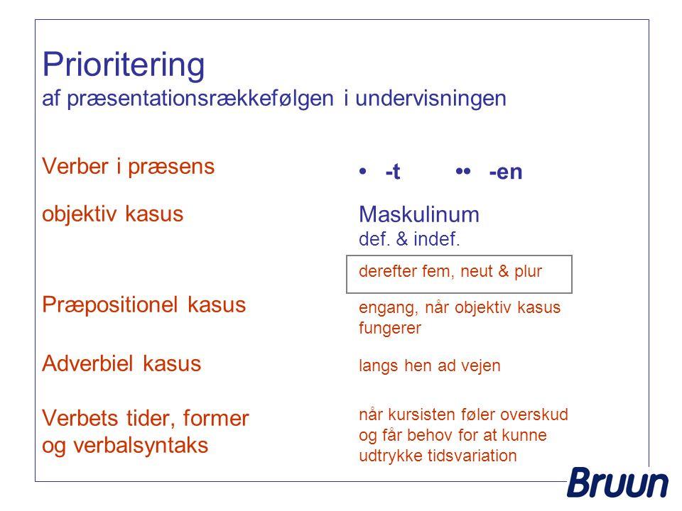 Prioritering af præsentationsrækkefølgen i undervisningen Verber i præsens objektiv kasus Præpositionel kasus Adverbiel kasus Verbets tider, former og verbalsyntaks Maskulinum def.