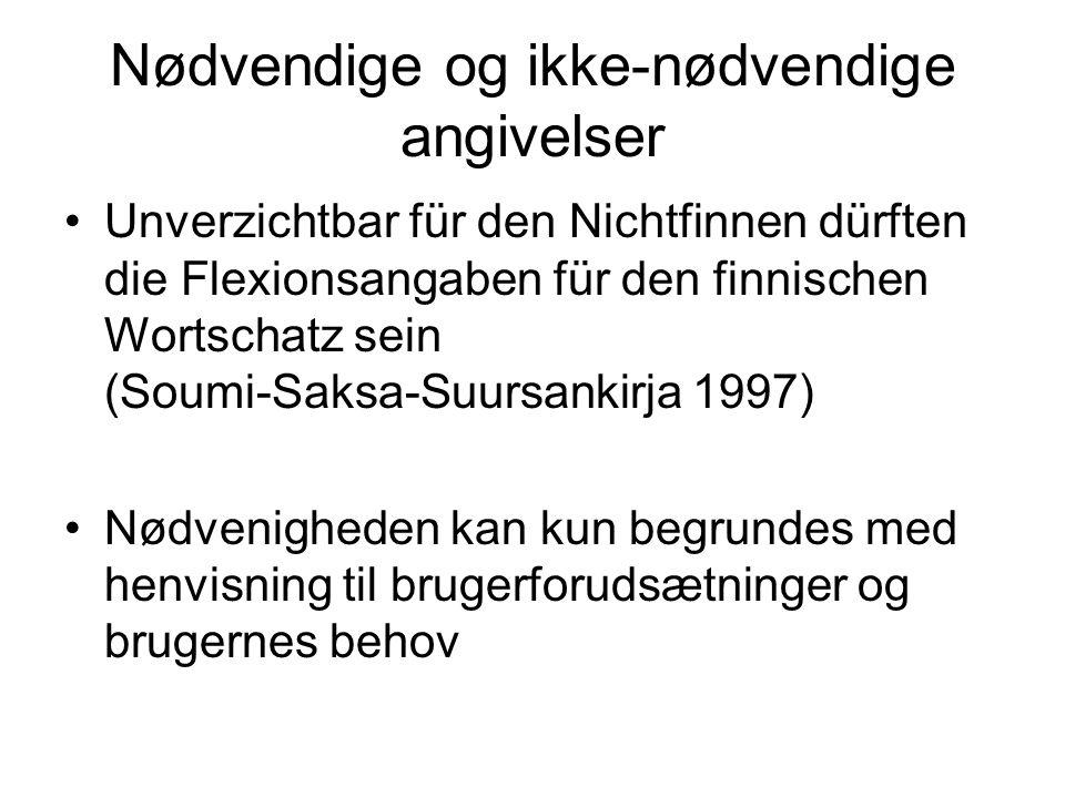 Nødvendige og ikke-nødvendige angivelser Unverzichtbar für den Nichtfinnen dürften die Flexionsangaben für den finnischen Wortschatz sein (Soumi-Saksa