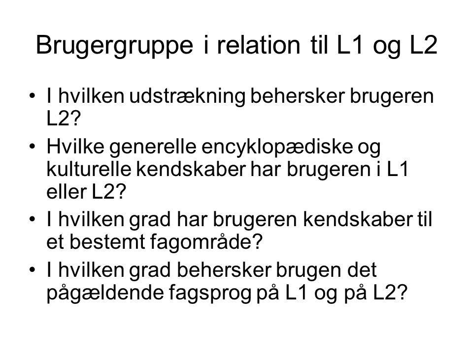 Brugergruppe i relation til L1 og L2 I hvilken udstrækning behersker brugeren L2? Hvilke generelle encyklopædiske og kulturelle kendskaber har brugere