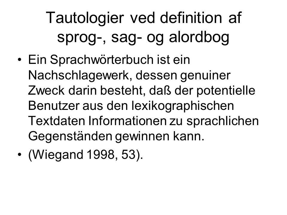 Tautologier ved definition af sprog-, sag- og alordbog Ein Sprachwörterbuch ist ein Nachschlagewerk, dessen genuiner Zweck darin besteht, daß der pote