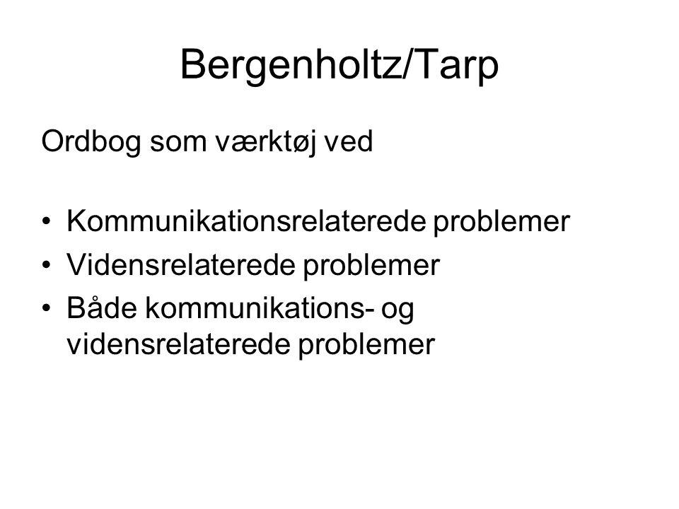 Bergenholtz/Tarp Ordbog som værktøj ved Kommunikationsrelaterede problemer Vidensrelaterede problemer Både kommunikations- og vidensrelaterede problem