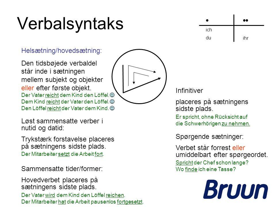 Verbalsyntaks Helsætning/hovedsætning: Den tidsbøjede verbaldel står inde i sætningen mellem subjekt og objekter eller efter første objekt. ich du ihr