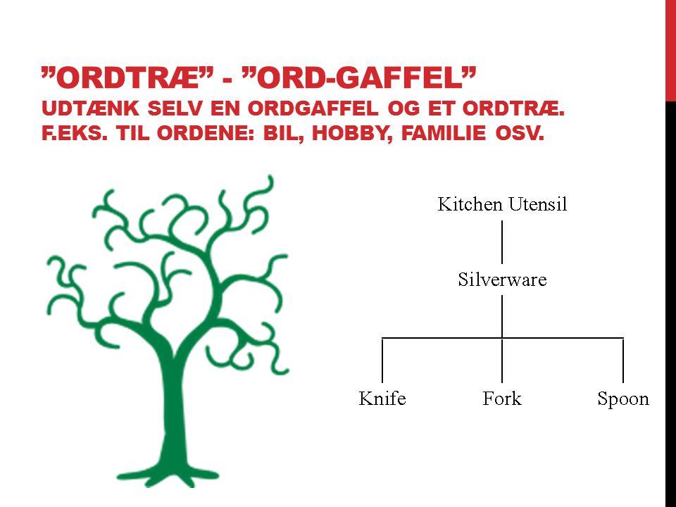 ORDTRÆ - ORD-GAFFEL UDTÆNK SELV EN ORDGAFFEL OG ET ORDTRÆ.
