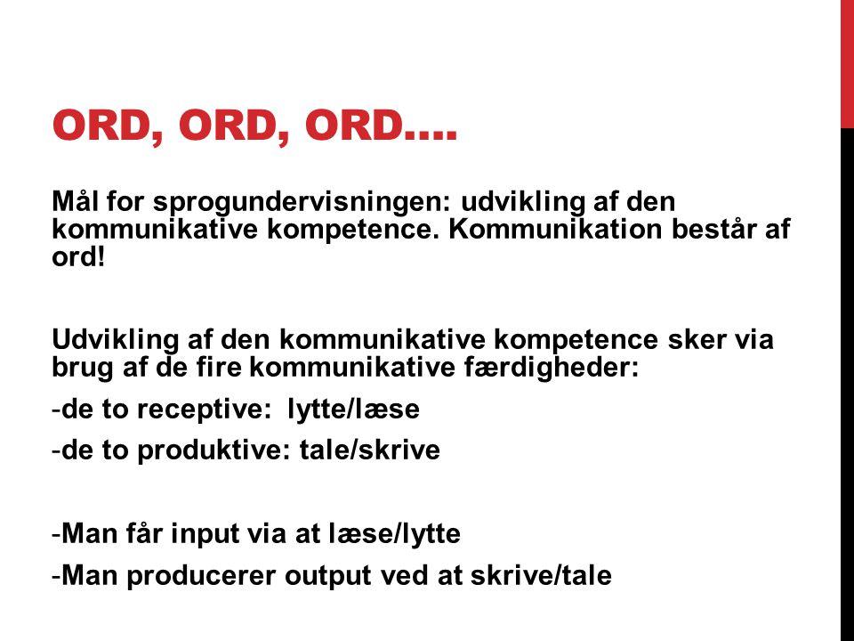 ORD, ORD, ORD….Mål for sprogundervisningen: udvikling af den kommunikative kompetence.