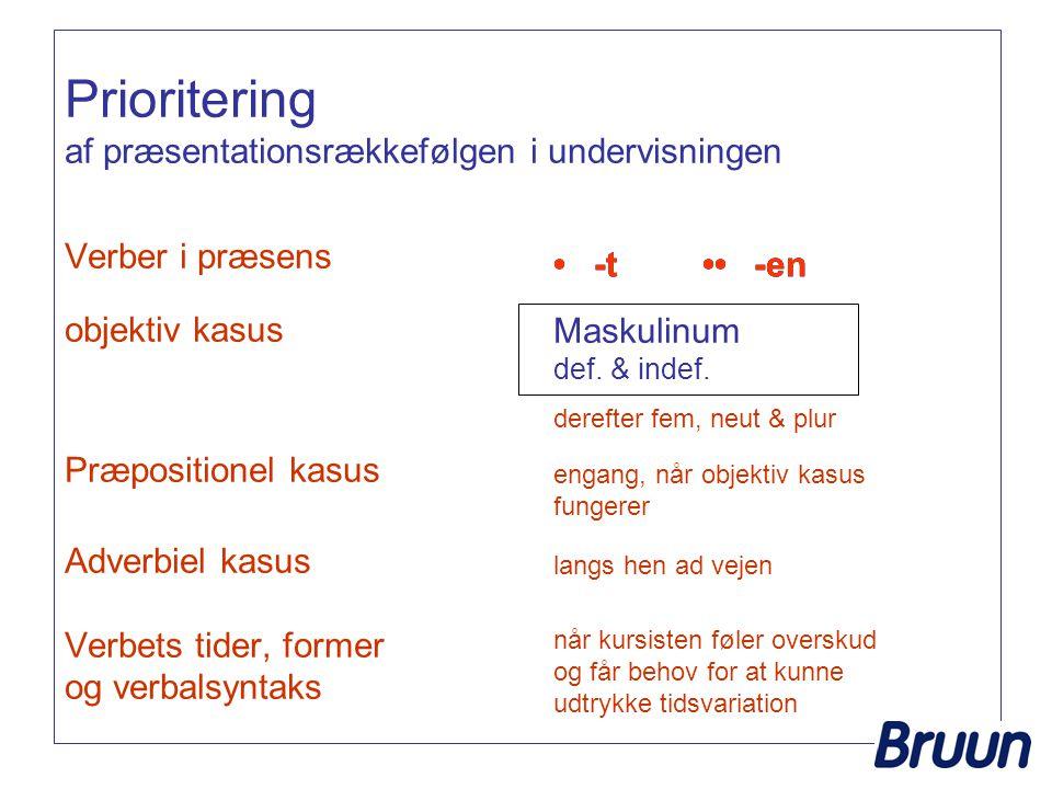 Prioritering af præsentationsrækkefølgen i undervisningen Verber i præsens objektiv kasus Præpositionel kasus Adverbiel kasus Verbets tider, former og verbalsyntaks -t Maskulinum def.