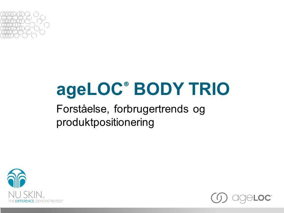 ageLOC ® Body Trio tilbyder et slankere, glattere, fastere mere ungdommelig udseende ved at genskabe et opstrammet look, gå efter cellulites, samt udglatte huden.