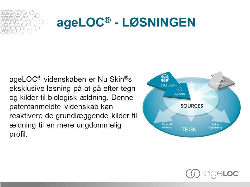 ageLOC ® videnskaben er Nu Skin ® s eksklusive løsning på at gå efter tegn og kilder til biologisk ældning.