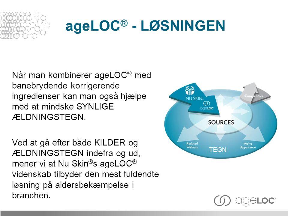 Når man kombinerer ageLOC ® med banebrydende korrigerende ingredienser kan man også hjælpe med at mindske SYNLIGE ÆLDNINGSTEGN.